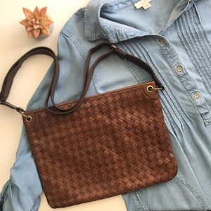 Brown weave crossbody